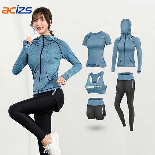 Fitness Five Piece Sports Running Training Gym Apparel Soft Yoga Set for Women