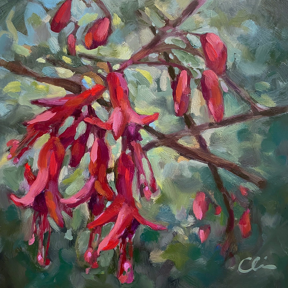 """Fuchsia"" • Oil on Canvas • 8"" x 8"""