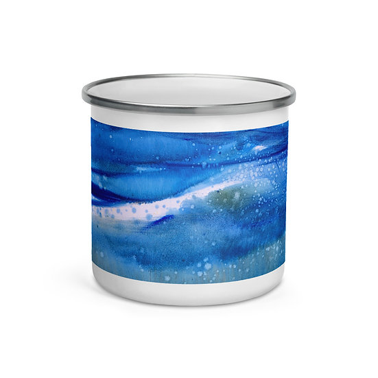 """Enamel Mug - Abstract Ocean Art - """"Breath of Restoration"""""""