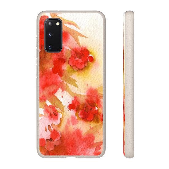 """Biodegradable Samsung phone case - Watercolor- """"Rowan Berries"""""""