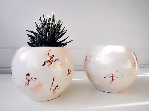 caveman pattern 10x10cm ceramics