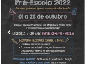 Inscrições para Pré-Escola acontece até dia 28 nas unidades escolares
