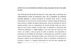 Extrato da Ata da Reunião do Conselho Geral - 30/04/2020
