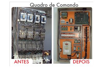 Comparativo Antes x Depois do Quadro de Comando