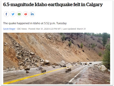 Measurement of Idaho Earthquake on March 31 2020