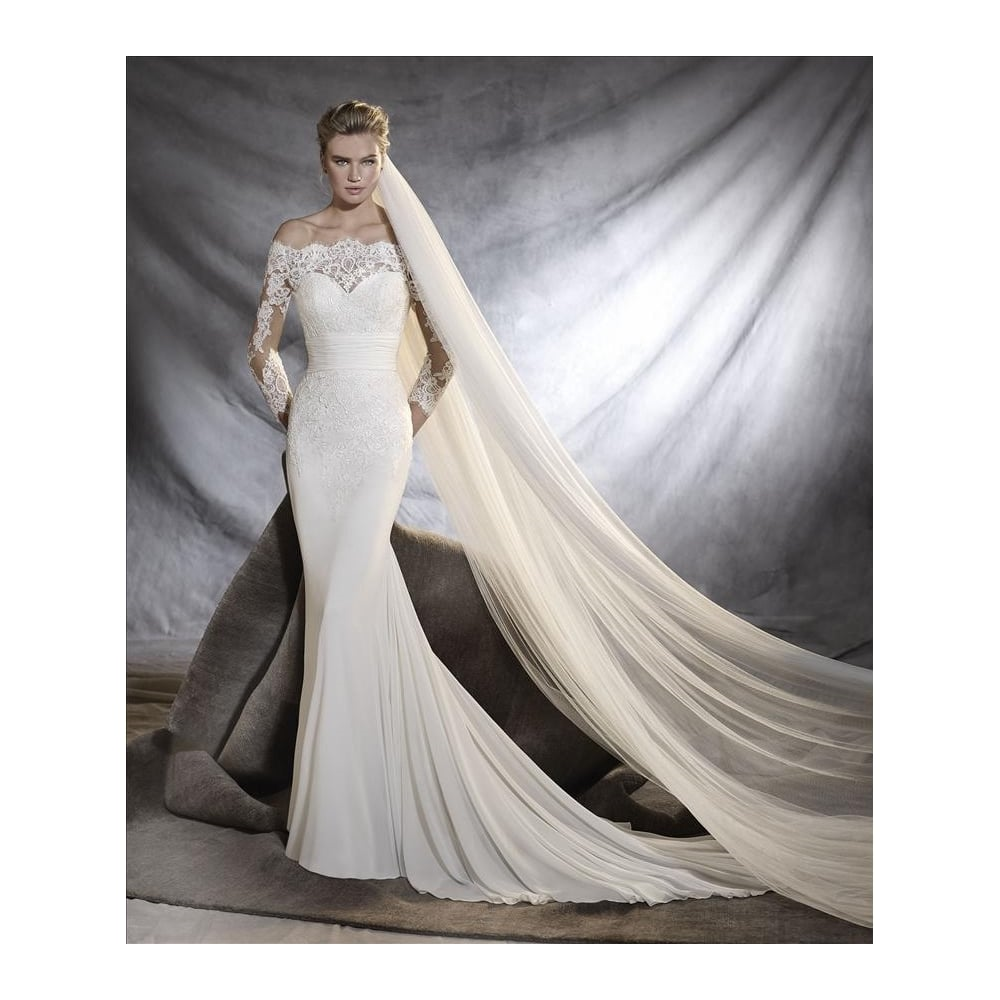 Alfred Angelo off the shoulder, illusion print top with cathedral veil