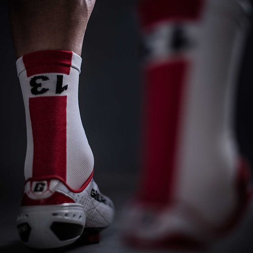 13 thirteen white and red cycling socks back