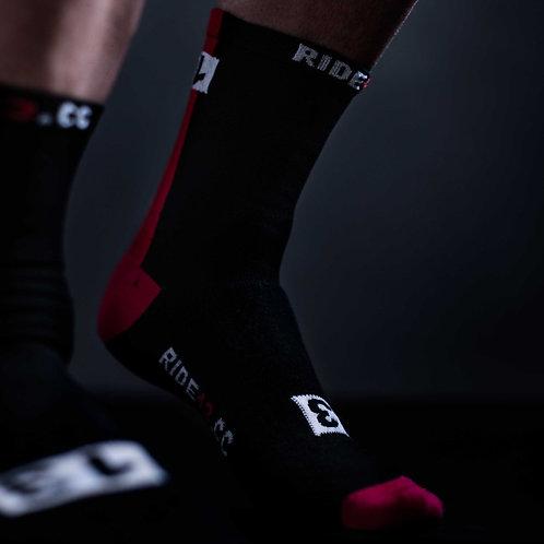 13 thirteen black and red cycling socks