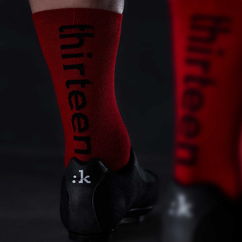 13 thirteen red cycling socks