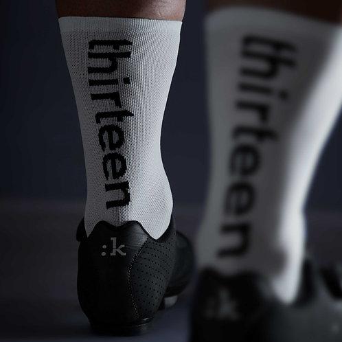 13 thirteen white cycling socks