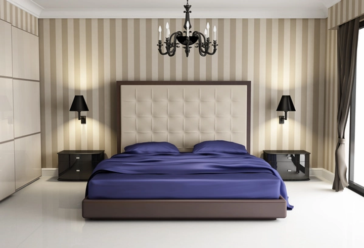 Chic-bedroom-with-black-wall-lamp-HD-pic
