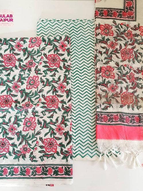 Unstitched Floral Suit Set