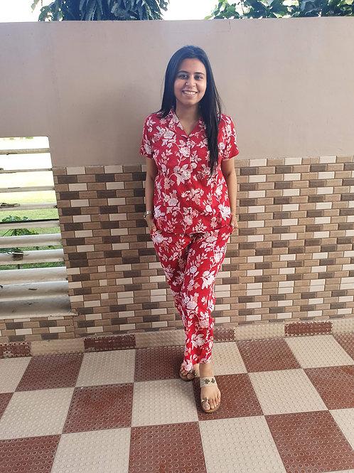 Hibiscus Shirt Pajamas Night Suit Set