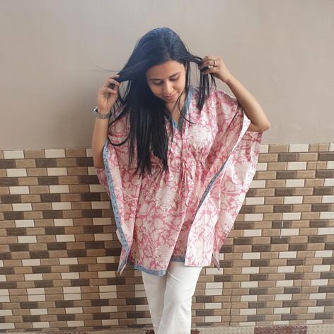Gul Bagh Kaftan Pyajama Night Suit Set