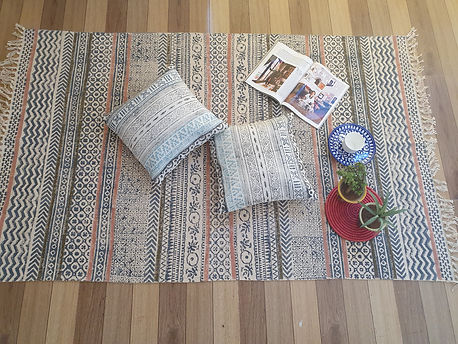 cotton canvas block printed cushion covers