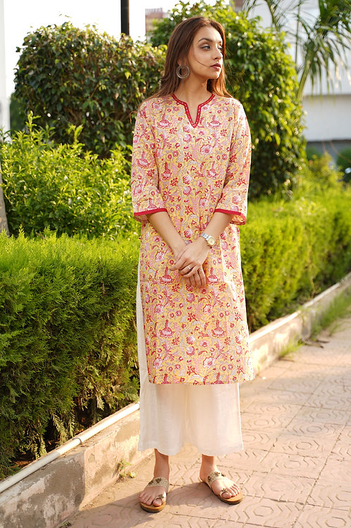 Yellow Daffodil Everyday Cotton Kurta Plazzo