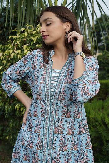 Hand block print cotton suit with plazzo