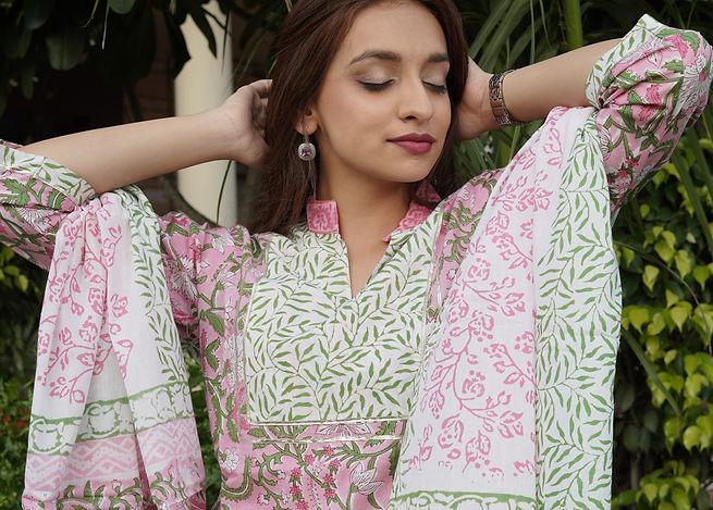 cotton block print suit set