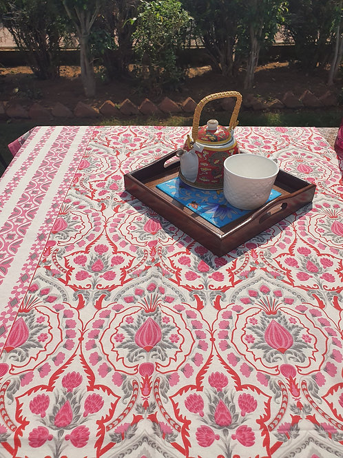 6 Seater Pink Paisley Table Cover