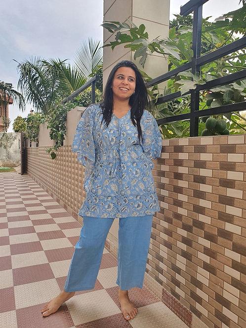 Blue Lily Kaftan Pajama Night Suit