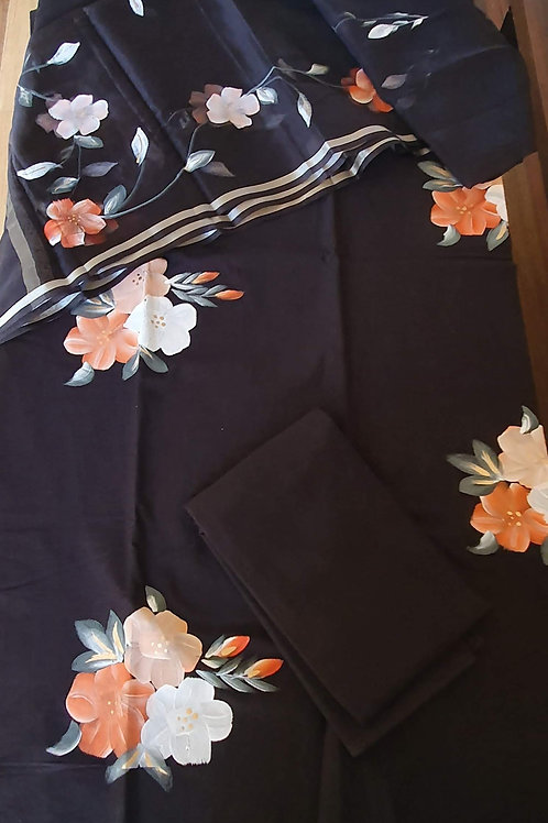Handpainted Black Floral Chanderi Suit Set