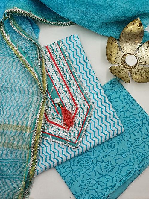 Turquoise Gota Suit Set