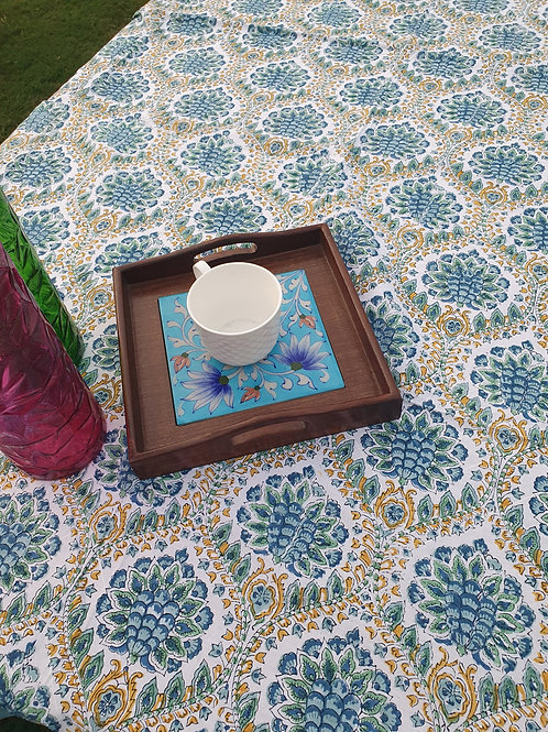 Blue cotton table cover