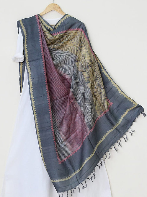Midnight Tussar Silk Handblock Printed Dupatta