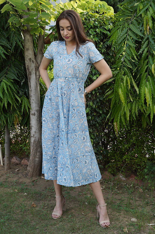Blue Lily Summer Midi Dress