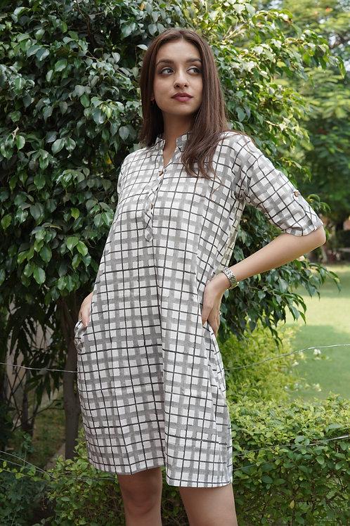 Grey - White Checkers Dress-Kurta
