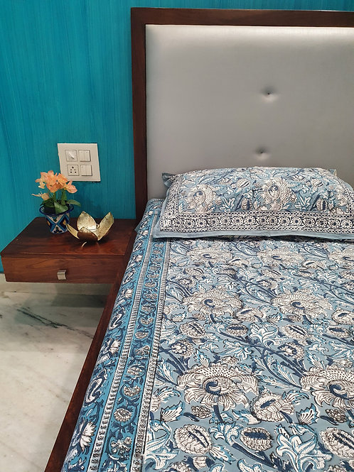 Wildflower Hand Block Print Cotton Bed Sheet With Complementing Pillow Cases