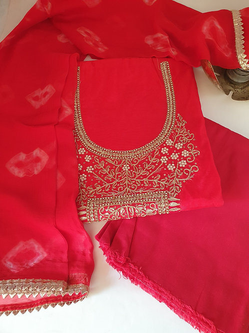 red suit set for brides