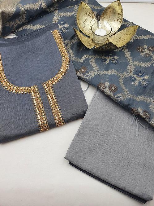 Grey handwork festive wear suit with banarsi dupatta