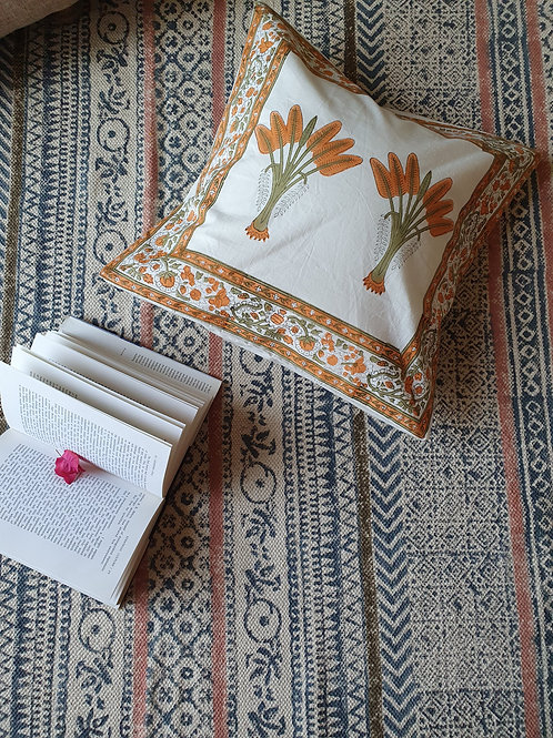Orange Banana Leaf Cotton Handblock Printed Cushions