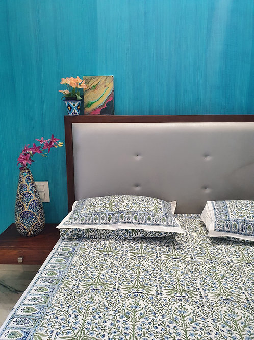 Ferns Handblock Bedsheet with Complimenting Pillow Cases