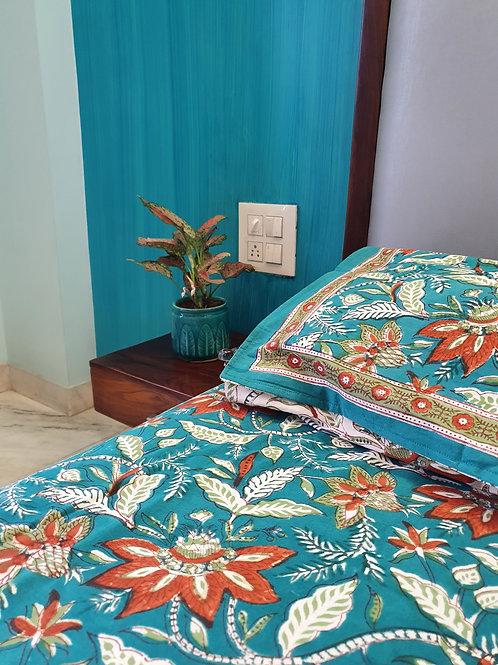 Aqua Lily Handblock Bedsheet with Complimenting Pillow Cases