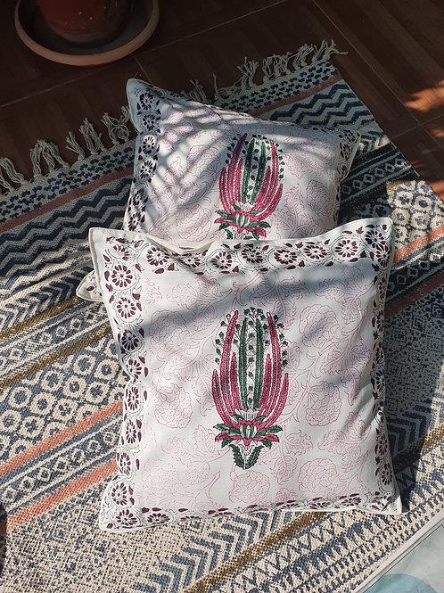 Bougainvillea Cotton Handblock Printed Cushions
