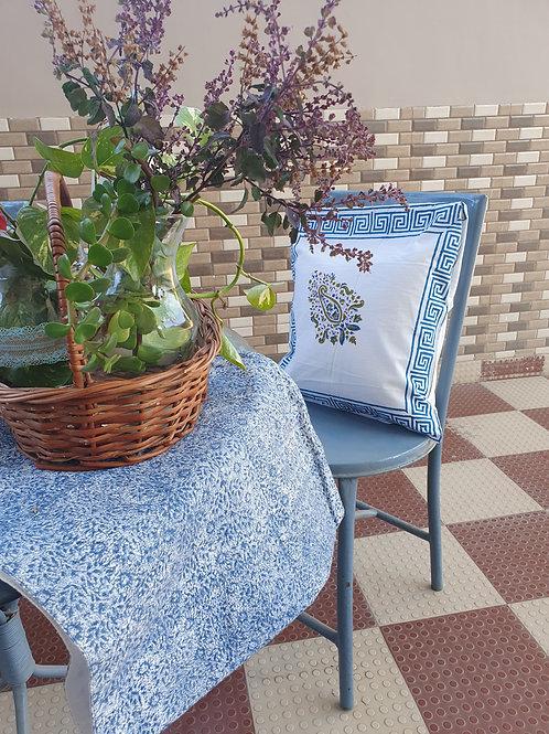 Paisley Blue Cotton Handblock Printed Cushions
