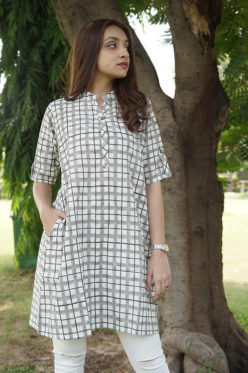 Grey White Checkers Dress