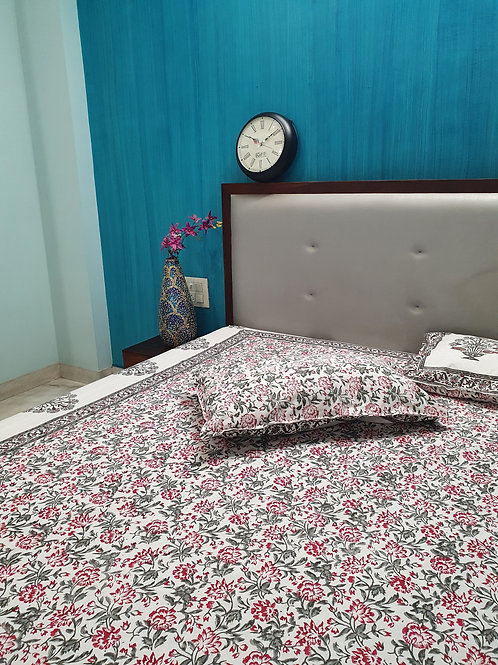 Dahlia Hand Block Print Cotton Bed Sheet Set With Pillow Covers