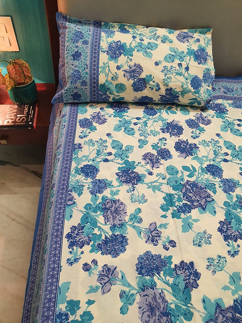Blue Roses Cotton Bedcover