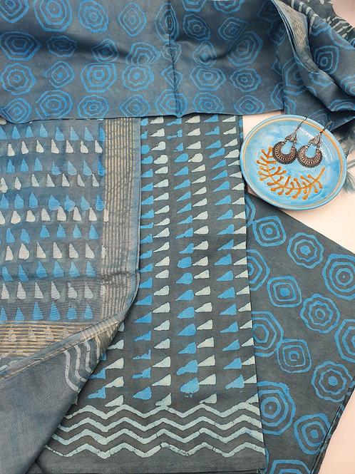 Unstitched triangle Suit Set with Chanderi dupatta