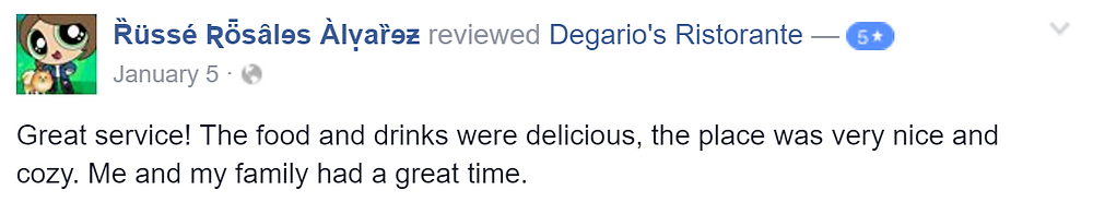 Russe left Degario's degarios ristorante a five star review !