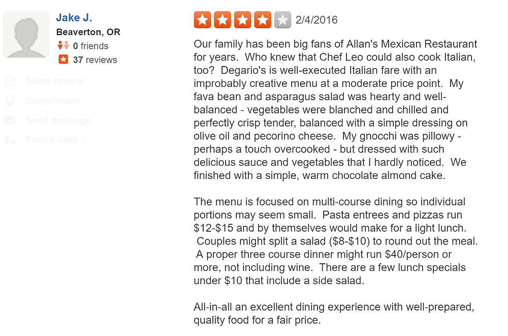 Jake just left Degario's Ristorante a four star review!