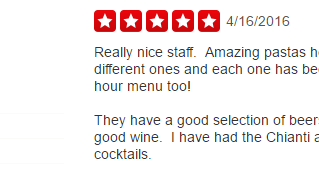 Greg B. Just Left Degario's A Five Star Review!