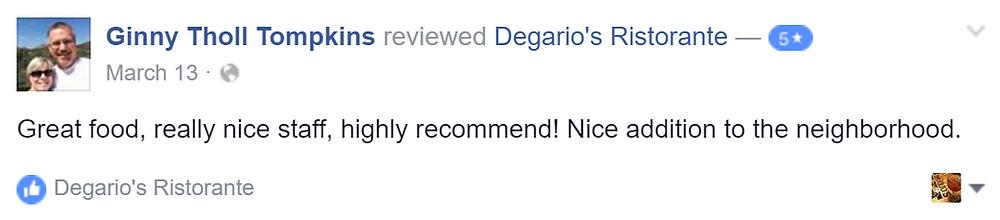 Ginny left Degario's degarios a five star review