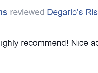 Ginny T. Just left Degario's a Five Star Review