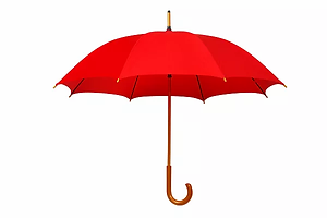 Open red umbrella isolated on white back