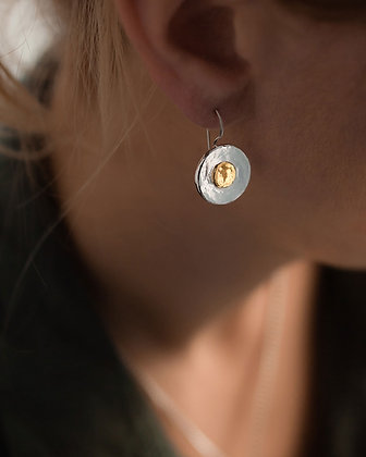 Gold and Silver Disc Earrings NZ
