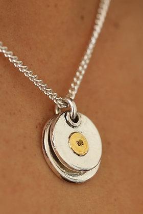 Pure silver 22k spot double disk pendant